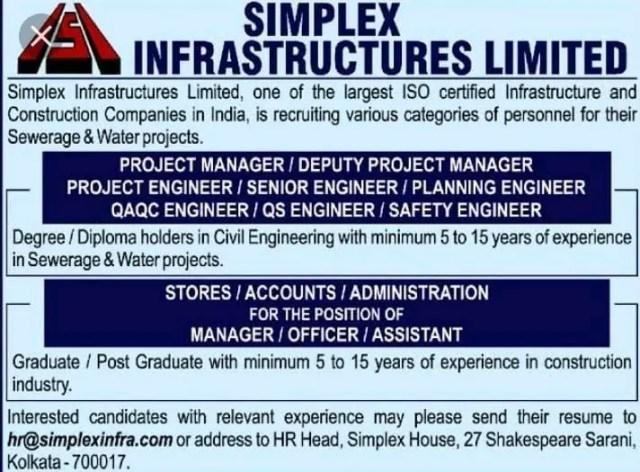 Simplex infrastructures Ltd Hiring  BE BTech  Civil Engineers