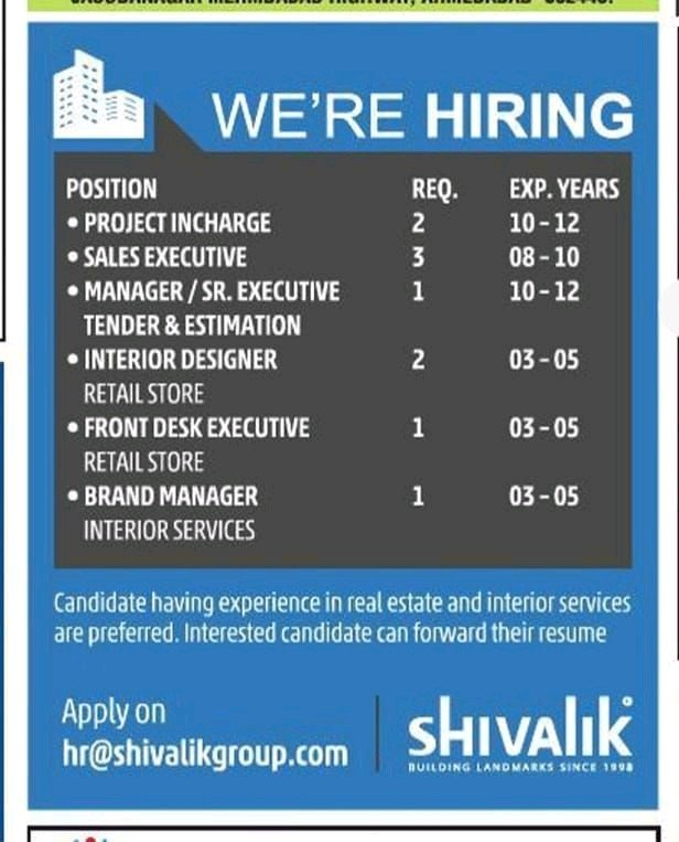 Shivalik Buliding Pvt Ltd Hiring| BE BTech| Civil Engineers