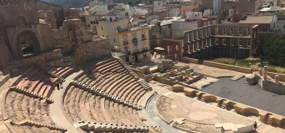 O suntuoso Anfiteatro Romano adorna a paisagem de Cartagena da Espanha