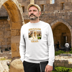 Men's T shirt with photo of an ancient arch in the courtyard of the Tower of David Museum located near the Jaffa Gate entrance to the western edge of the Old City of Jerusalem, Israel.