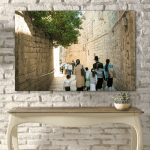 Canvas Print. Photo of people walking on a narrow street in the Jewish Quarter of the Old City of Jerusalem, Israel.