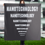 """Scarf that says """"Nanotechnology"""" eight times. The word gets smaller and smaller until it reaches a single dot at the bottom."""