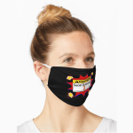 """Mask that says """"Caution. Social Distancing 2 m."""""""