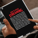 """iPad Case that says """"How to speak Streaming."""" Followed by a list of 50 Netflix vocabulary words."""