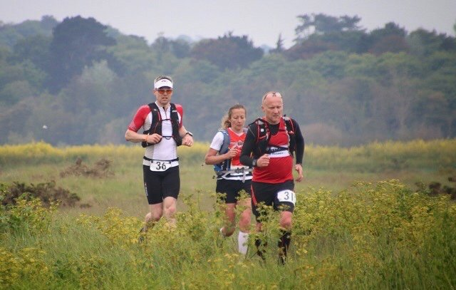 Giles, Karen and John approaching the start of The Shingle Bank