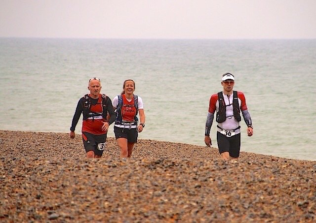 John, Karen and Giles arriving at Checkpoint 6
