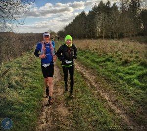 Giles and Tim Ellis running Peddars Way Ultra 2016
