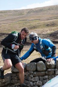Jim and Giles Approaching Kingsdale Checkpoint in Fellsman 2016