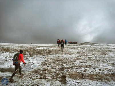 Approaching check point 1 on the summit ofIngleborough
