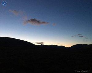 Last light on the climb towards Burmoor Tarn