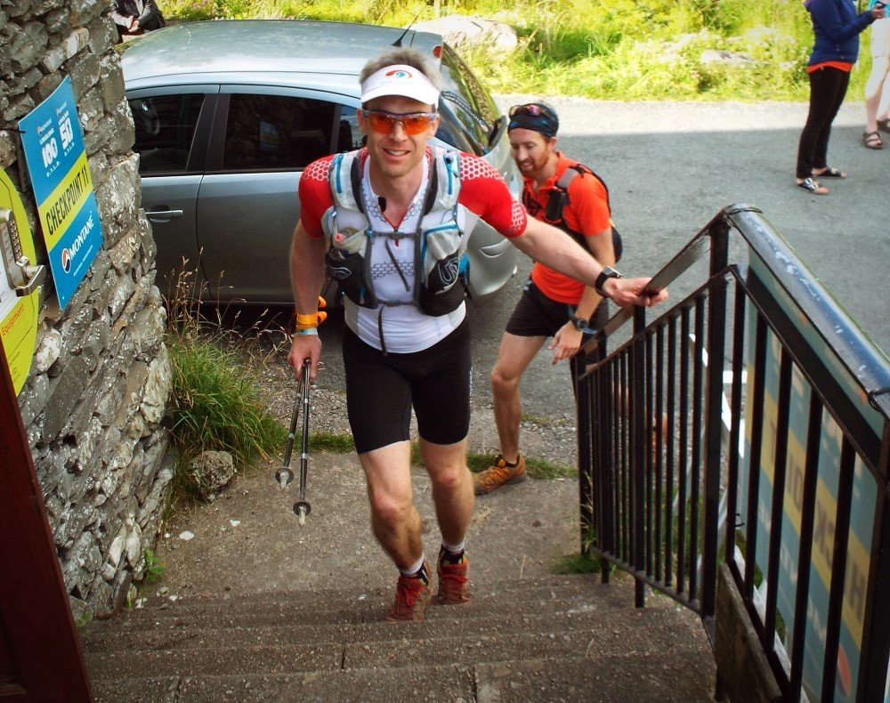 Giles arriving at Kentmere Checkpoint with Henry behind. Photo courtesy of David Robson