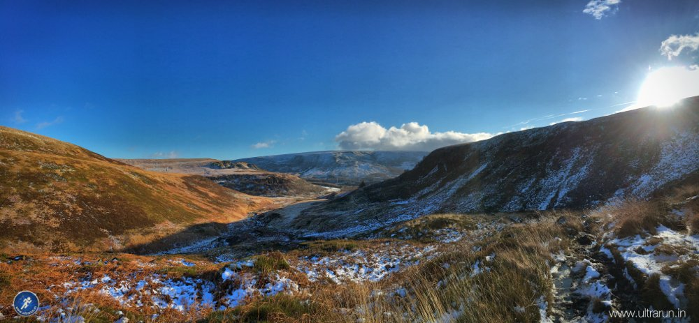 Looking back towards Crowden and Bleakhow on the ascent to Black Hill