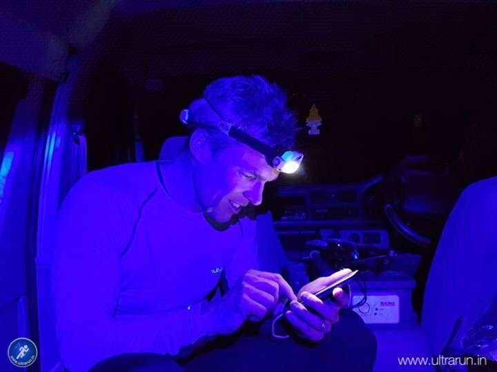Some warm food and a catch-up on text messages in the van before pushing on across the M62. Photo courtesy of John Figiel.