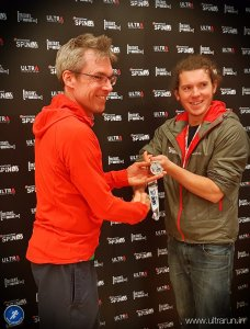 Giles receiving his finishers medal at the end of the Spine Challenger. Photo courtesy of John Figiel.