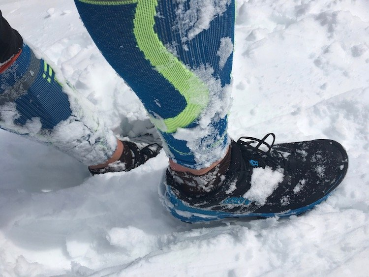 Trail shoes offer great traction in snow