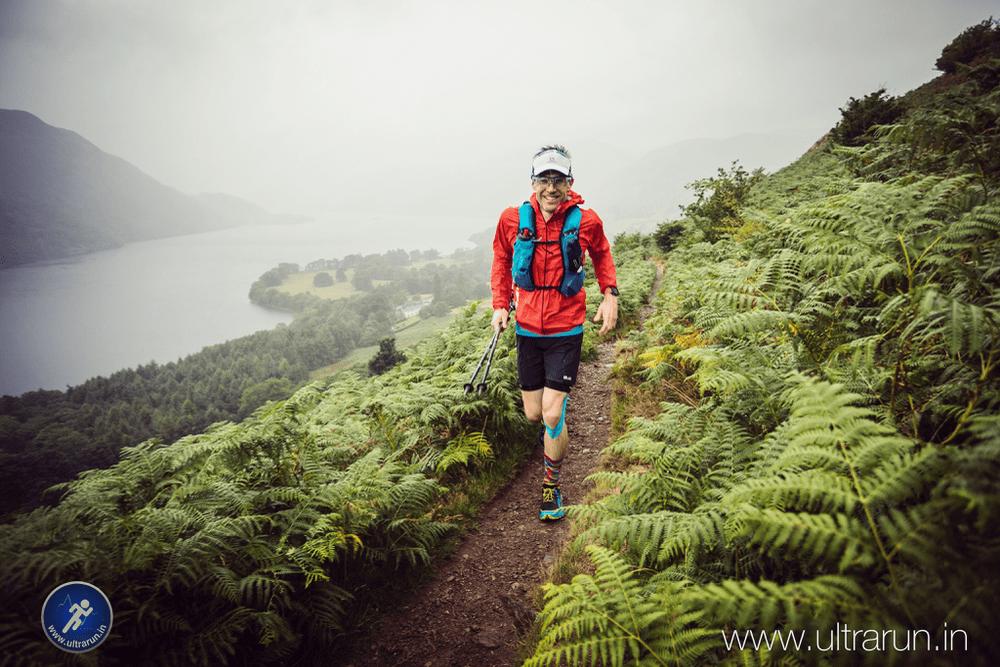 Giles Running Above Ullswater in the 2018 Lakeland 100