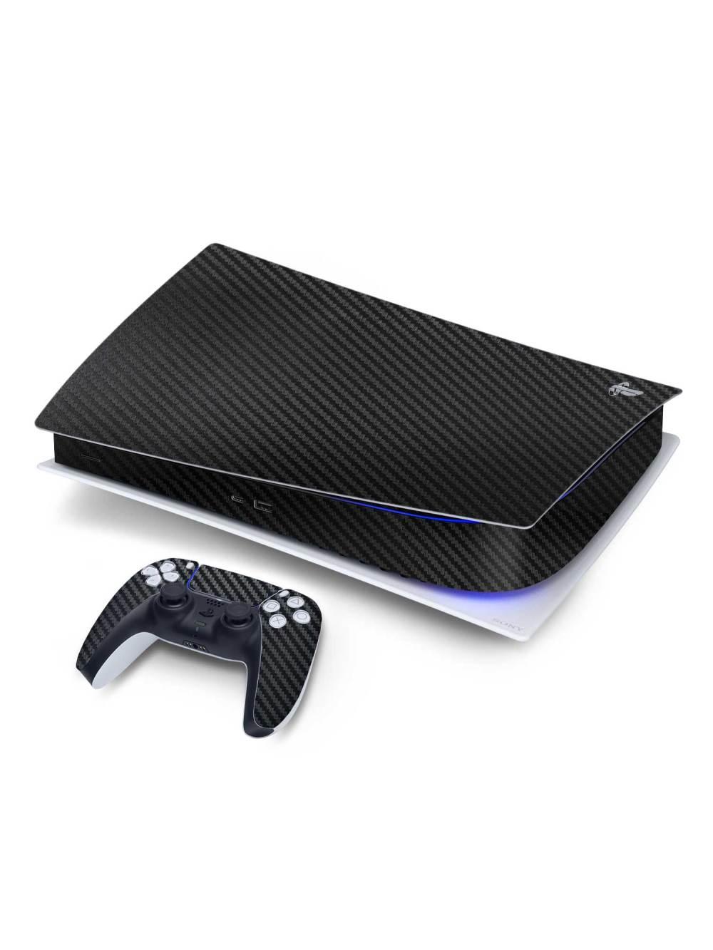 Textured 3D Black Carbon Fibre Sony PS5 Digital Edition Vinyl Skin Wrap