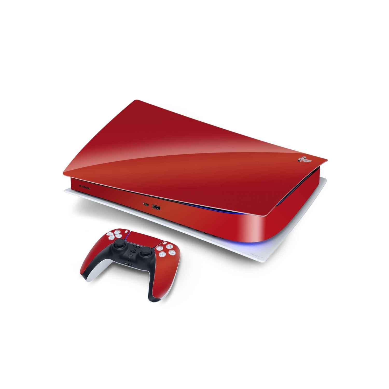 Glossy Red Sony PS5 Digital Edition Vinyl Skin Wrap