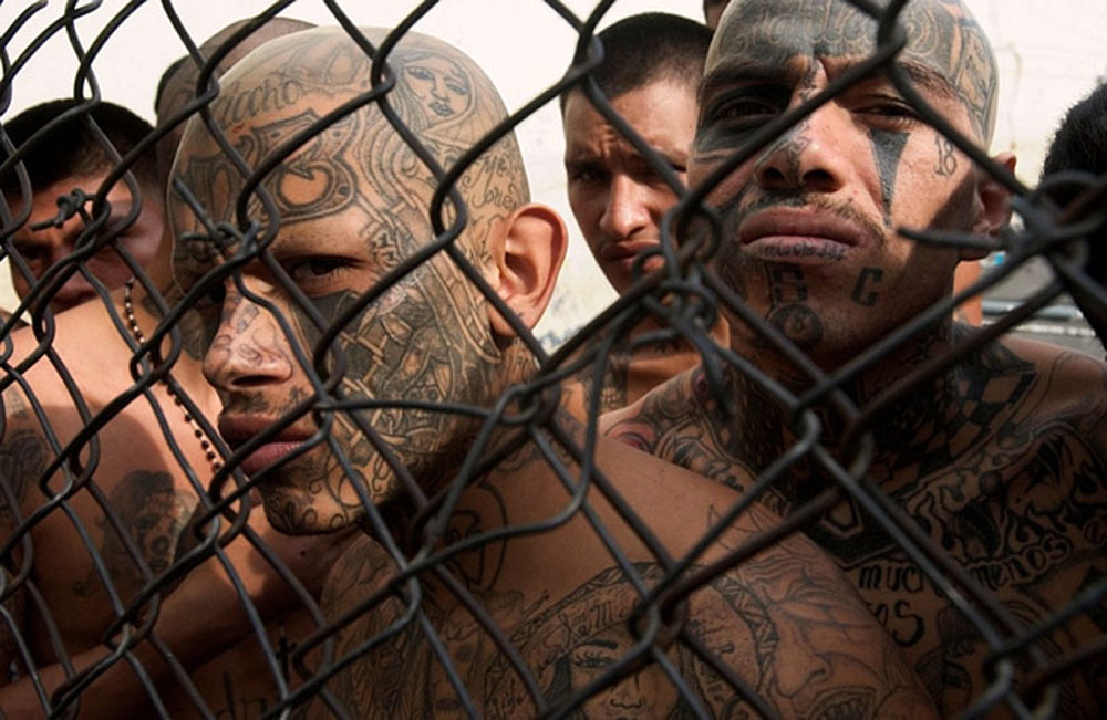 Tattoo Faces Behind Chain Link Fence