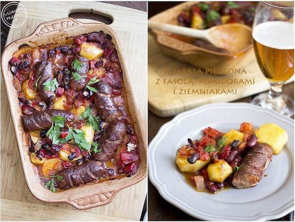 Kiełbasa pieczona z fasolą, pomidorami i ziemniakami