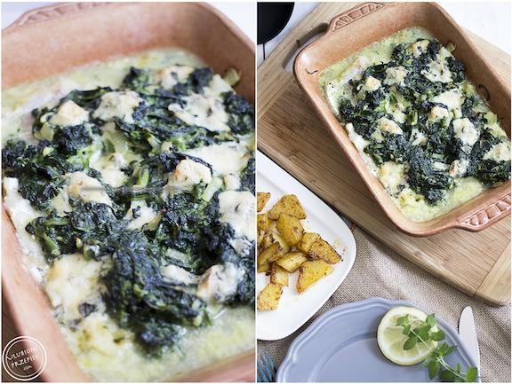 Ryba zapiekana ze szpinakiem i serem pleśniowym