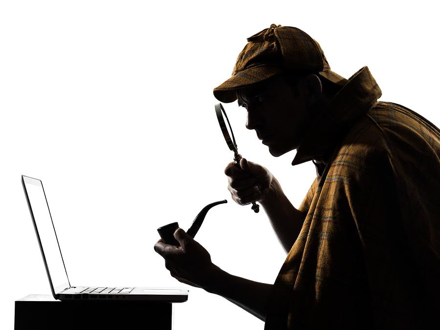 sherlock holmes laptop computer silhouette in studio on white ba