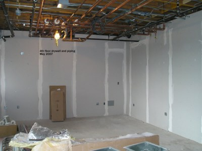 4th floor drywall and piping