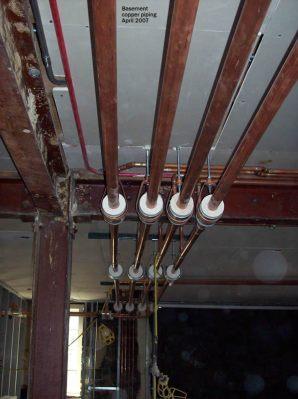Basement copper piping