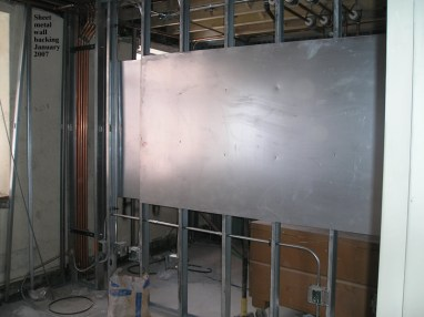 Sheet metal wall backing
