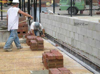 Starting brick at parpet wall