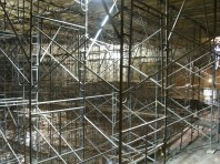 View from balcony through scaffolding
