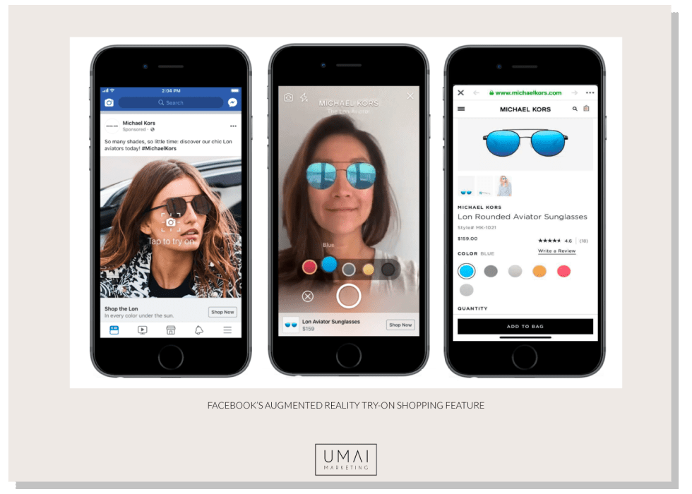 Facebook shops with augmented reality