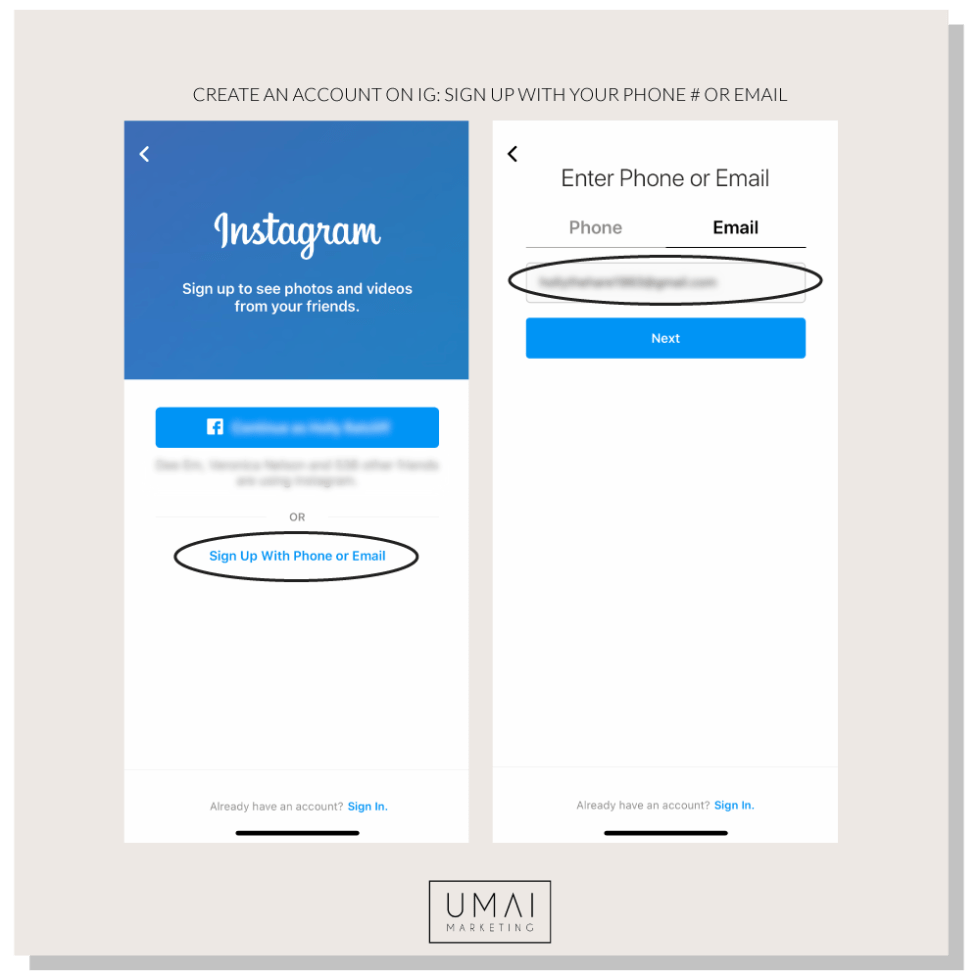 Example of Instagram sign up