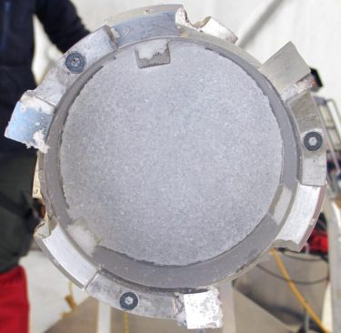 Ice core in the drill