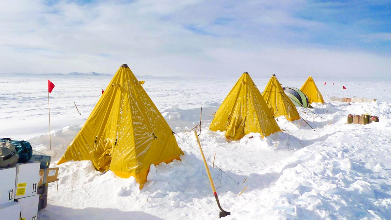 Yellow tents in the snow
