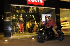 Biker wearing Levi's Barstow Western Shirt and Levi's 511 Chinos
