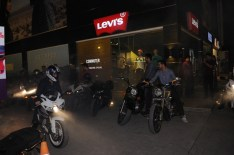 Bikers riding bikes outside Levi's
