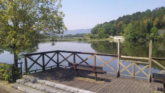 平の沢の池とベンチ