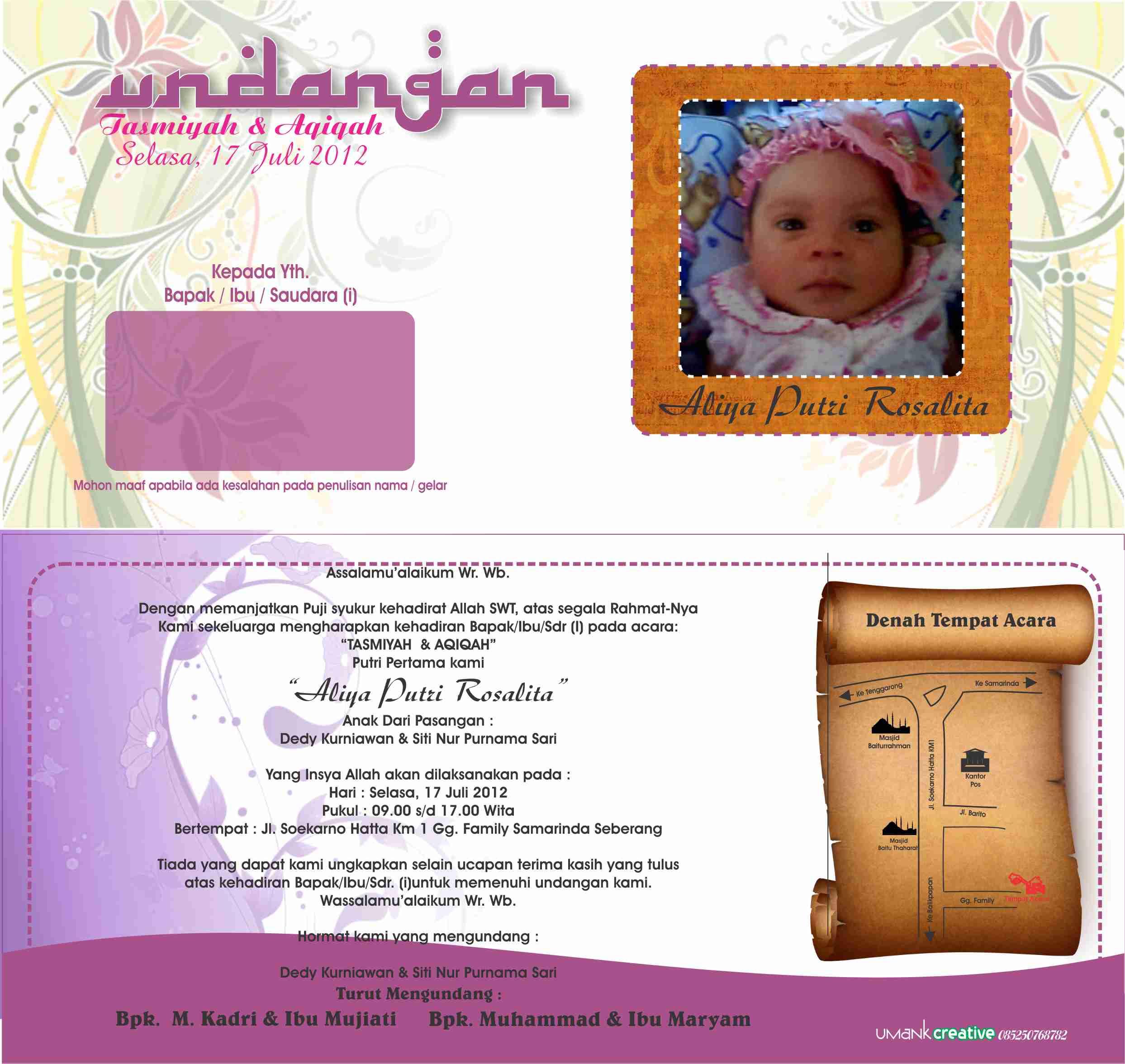 Undangan Aqiqah Umank Creative Design Print