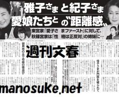 週刊文春雅子さま紀子さま