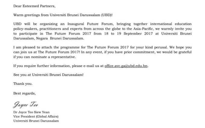 Invitation To The Future Forum 2017 Universiti Brunei Darussalam