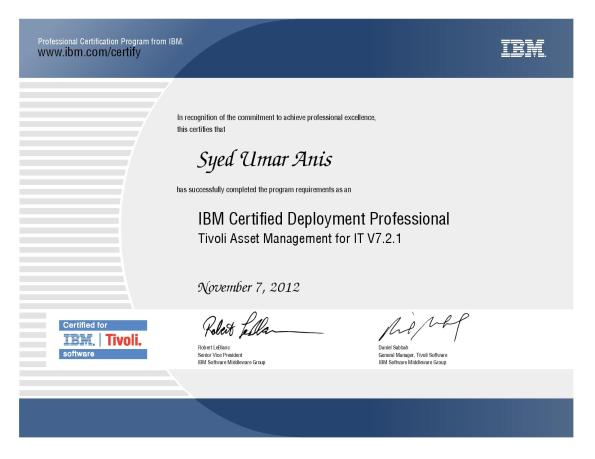 IBM Certified Deployment Professional - Tivoli Asset Management for IT V7.2