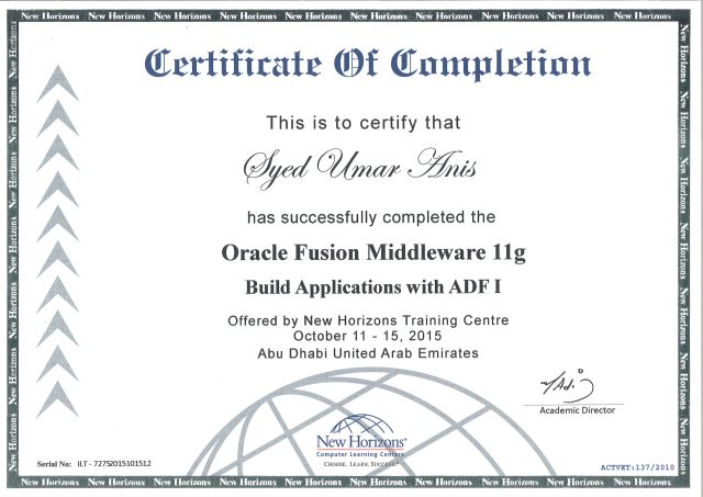 New Horizons - Oracle Fusion Midleware 11g - Build Applications with ADF - Certificate