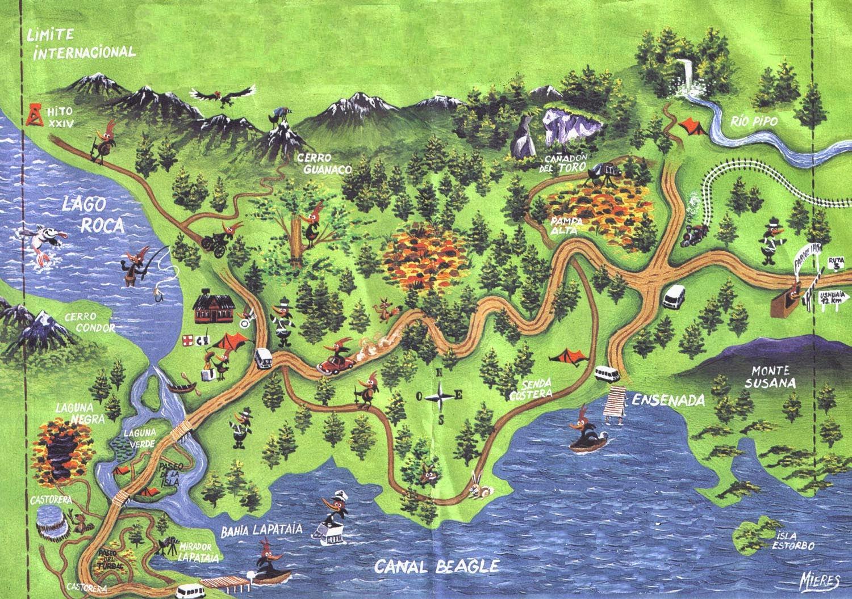 Mapa Parque nacional Tierra del Fuego - O que fazer