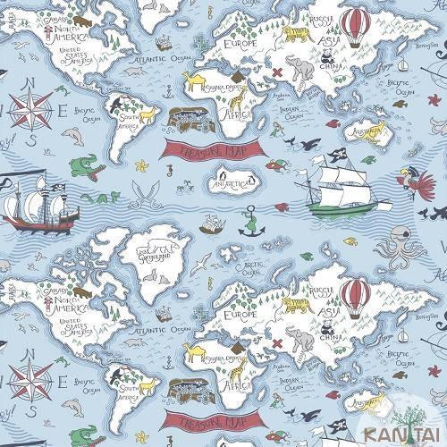 Papel de Parede de mapa infantil navegações pra comprar pela internet - Decoração de Viagem