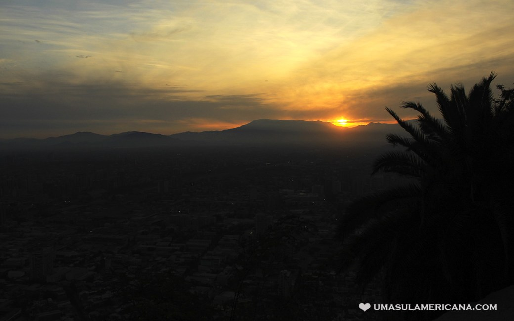 Cerro San Cristóbal em Santiago do Chile - Pôr do Sol