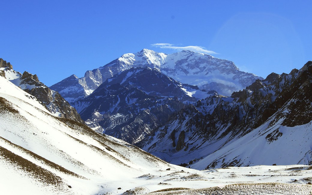 Aconcágua, a montanha mais alta da América do Sul, em Mendoza, Argentina