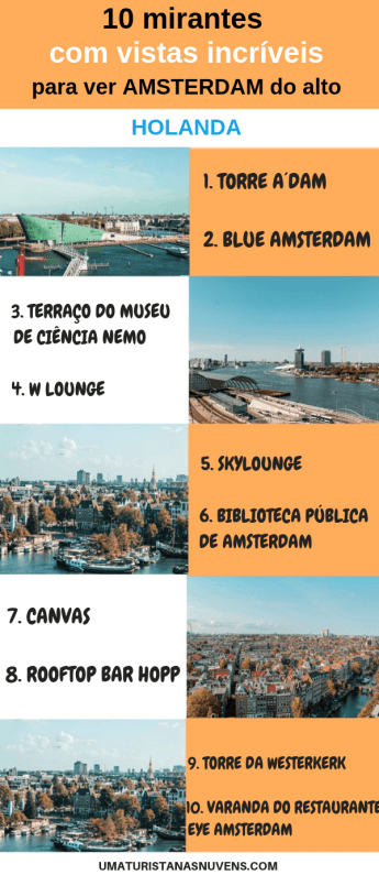 10 lugares para ver AMSTERDAM do alto - Holanda
