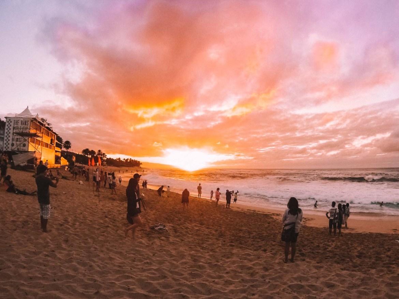 Sunset Beach em Oahu no Havaí
