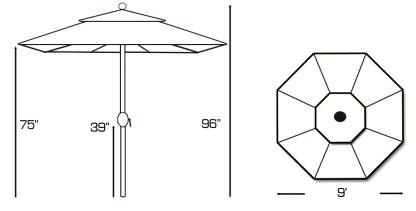 Specs for Galtech 537 9′ Deluxe Round Rotational Tilt Teak Wood Umbrella